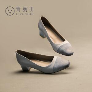 青婉田2017春夏新款女鞋真皮拼接粗跟优雅方头方跟浅口单鞋女中跟