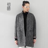 初语冬装新款女装毛呢外套女中长款修身显瘦大码呢大衣潮女8441224049