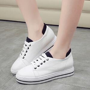 阿么羊皮系带韩版小白鞋运动休闲板鞋透气休闲学生鞋女