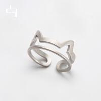 d3舍独立设计原创首饰品 猫耳朵 925银 开口戒 新品 萌物猫咪