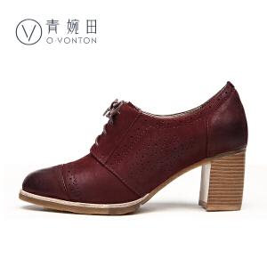 青婉田春鞋2017新款布洛克英伦学院风女鞋子高跟鞋粗跟单鞋女真皮
