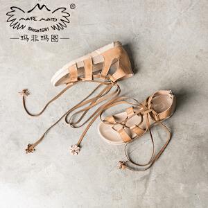 玛菲玛图罗马凉鞋女夏平底学生复古中跟真皮英伦风交叉绑带侧空拉链女鞋 8081-15