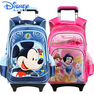 迪士尼书包米奇拉杆书包休闲款式中小学生书包带防雨罩