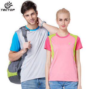 TECTOP户外男女夏季新款大码圆领T恤衣韩版拼色速干休闲跑步短袖
