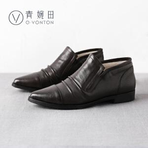 青婉田2017春季新品女士皮鞋女尖头平跟单鞋女 羊皮套脚真皮女鞋