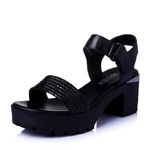 Teenmix/天美意夏专柜同款-擦色牛皮革女皮凉鞋6ZG12BL6