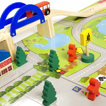 【木童玩具木质积木】积木玩具轨道立交桥