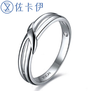 佐卡伊 凝爱 白18k金钻石钻戒结婚对戒情侣对戒男戒女戒 珠宝首饰