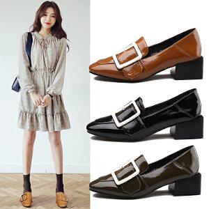 阿么2017春季新款复古粗跟方扣单鞋方头漆皮女鞋子韩版休闲鞋