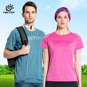 TECTOP 男女款短袖速干T恤跑步运动休闲快干衣情侣春夏大码透气装